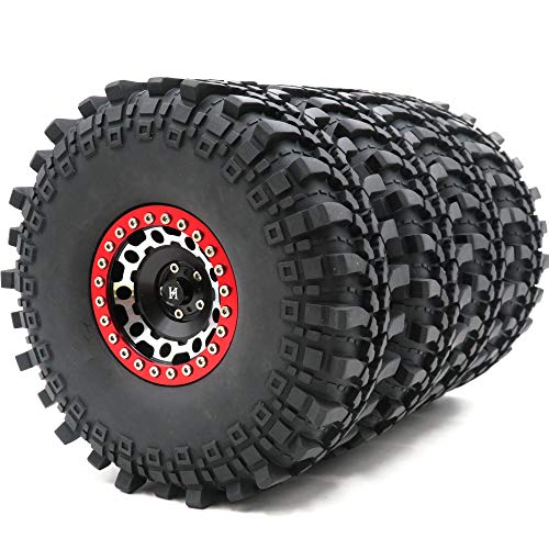 4pcs RC 2.2 Crawler Mud Terrain Tires Super Grip Soft Tyres with Soft Foam Insert Height: 145mm/5.7inch & Aluminum Alloy 2.2 Beadlock Wheels Rims Black/Silver/Red Color