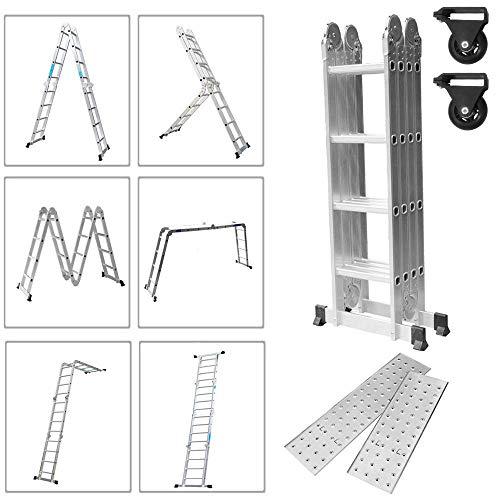 Froadp 470cm Aluminum Gerüst leiter Mehrzweckleiter Multifunktions Kombileiter Klappleiter Gerüst leiter mit 2 stück Plattform(Silber, 4×4 Stufen)