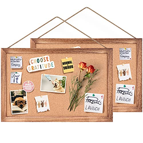 Emfogo Cork Board Bulletin Board, Decorative Hanging Pin Board, Perfect for Home Office Decor, Home School Message Board or Vision Board