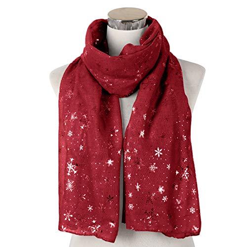 Luckycat Bufanda de Copo de Nieve de Invierno Festivo de Navidad para Mujer