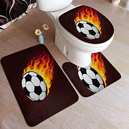 GUVICINIR Alfombrillas de baño Set 3 Piezas,Balón de fútbol o fútbol con Icono de Rastro de Fuego de Deporte Fireball Flying Fiery Flam,Alfombra de Piso Antideslizante Alfombra de Inodoro