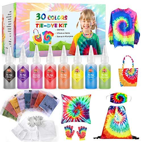 Emooqi Tie Dye Kit, Textiles de Tela 30 piezas Colores Vibrantes Adecuado para Arte de Bricolaje Tie-Dye para Niños y Adultos