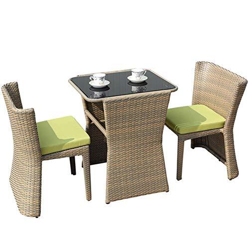 Balcón Jardín Conservador al Aire Libre Patio de Muebles de ratán con Cojines Verde Diseño de 3 Piezas Conjunto Mesa y sillas Bistro Cuadrado WKY