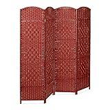 Relaxdays Biombo Separador de 4 Paneles BYÖBU, Parabán Plegable, Madera y Bambú, 179 x 180 x 2 cm, Rojo