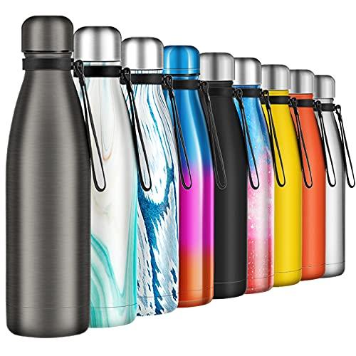 Borraccia Termica 500ml, Senza BPA, Bottiglia Acqua in Acciaio Inox Sottovuoto a Doppia Parete, per Campeggio di Sport Esterni Escursionismo Escursioni in Bicicletta, Grigio Opaco