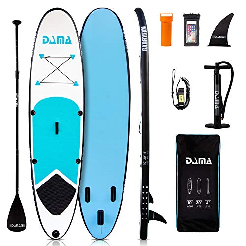 DAMA Youth 10' Inflatable Sup Stand Up Paddle Board, Youth Board, Premium Board Accessories, Floating Paddle, Lightweight Lady, Kids Gift, All Round Board Blue