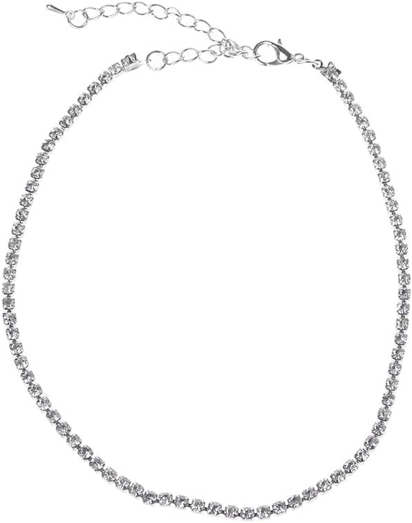 Harlotte Minimalist Crystal Collar Choker Necklace Rhinestone Bridal Wedding Prom Jewelry Womens Necklaces Necklaces for Teen Girls Cute Necklaces