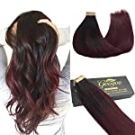 Beauty Shopping GOO GOO 20pcs 50g Human Hair Extensions Tape in Ombre Chocolate Brown to Caramel