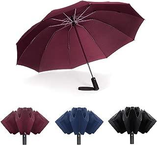 Jiguoor Inverted Folding Windproof Travel Umbrella, Reverse Rainproof Umbrella Compact and Sturdy 10 Ribs Auto Open/Close Umbrellas with Teflon Coating (Inverted Umbrella - Black)