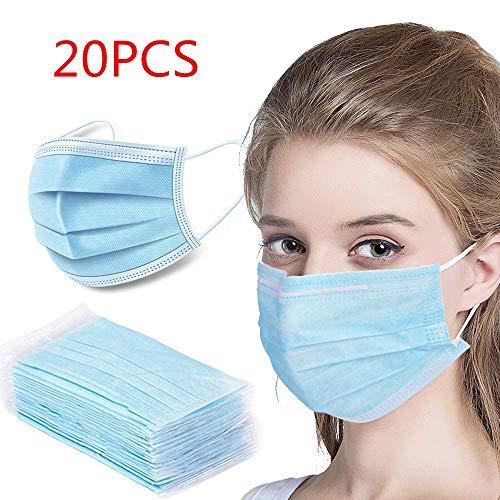 20 Stück Einweg Maske Gesichtsmaske Vlies Einwegmaske Mundschutz Staubschutz mit Ohrschlaufen