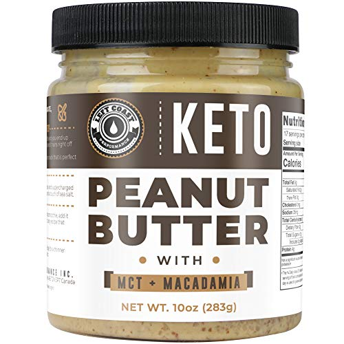 Keto Peanut Butter with Macadamia Nuts and MCT Oil 10oz  Smooth Keto Nut Butter Spread | Perfect fat bomb low carb keto snack 1g net carbs