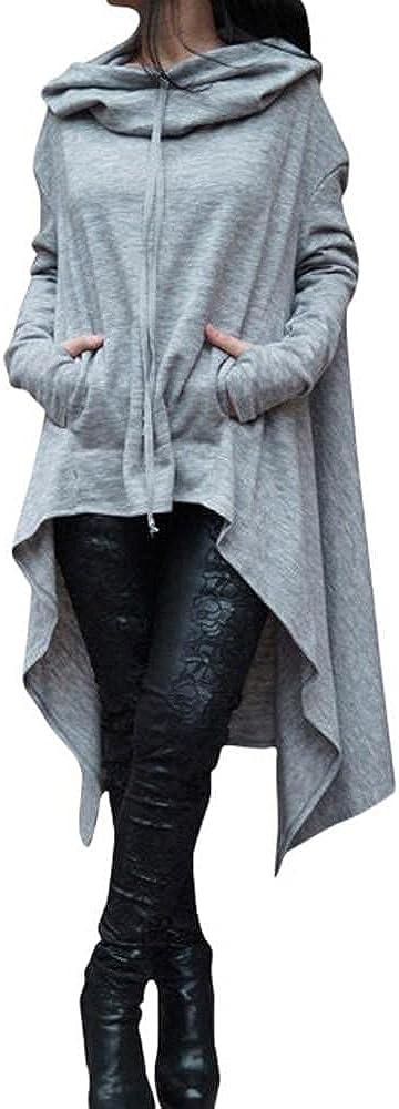 Women's Asymmetric Hem Casaul Hoodies Fall Trendy Long Sleeve Lightweight Cowl Neck Tunic Sweatshirts Top with Pockets