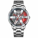 DriftElement Felgenuhr Herren - Motorsport Armbanduhr im 3D Felgendesign aus Edelstahl - Custom Designer Uhr mit Mineralglas - Quarzuhr (Silber-rot)