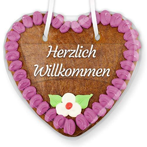 Lebkuchenherz mit Zuckerdeko und Textaufkleber'Herzlich Willkommen' - lila - 14cm