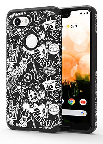 ShinyMax Google Pixel 3 XL Case with Graffiti Design,Pixel 3 XL Phone Case, Hybrid Dual Layer Armor Protective Cover Sturdy Anti-Scratch Shockproof Cute Case for Google Pixel 3 (2018) -Black