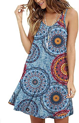 VINTATRE Women's Summer Sleeveless Dress Casual T-Shirt Loose Dress