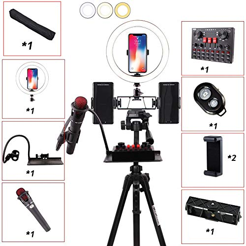 MOZX LED Ring Light with Tripod Stand, 10 Inch Selfie Dimmable Ring Light, 3 Color Modes and 3 Packages to Choose from, USB Powered, Heighten Hose, for Live Streaming Makeup Camera,Package 3