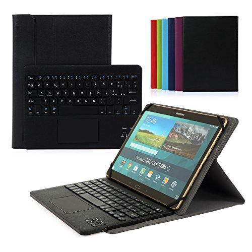 Cassa con Tastiera Smontabile Bluetooth 3.0 Senza fili Italiano e multi touchpad - Compatibile con 9.0 -10.6 pollici Tablet Qualsiasi Windows / Android OS(Min 15x24cm Max 18x26cm)Nero