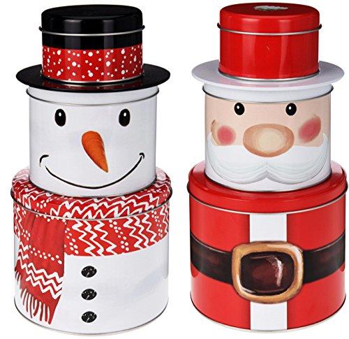 matrasa Weihnachtliche Keksdose 3-TLG - Schneemann Weihnachtsmann - Plätzchendose Blechdose (Weihnachtsmann)