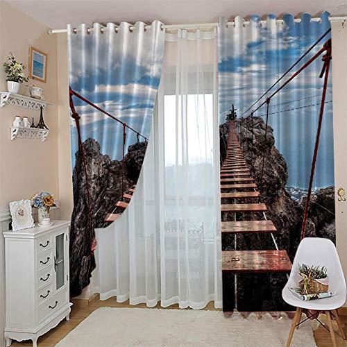 Ejiawj Cortinas Opacas Termicas Cortinas Opacas Salon Habitación Aislantes Térmicas para Dormitorio 132 X 243 cm Paisaje De Puente Colgante De Acantilado