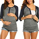 Ekouaer Womens Maternity Nursing Cotton Breastfeeding Nightgown Button Down Shirt (Navy Blue M)