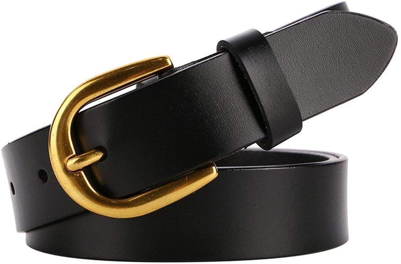 "BGRFEB Women's belt ladies belt Leather belt lady  Twolayer cowhide  1.16""Wide (color   Black)"