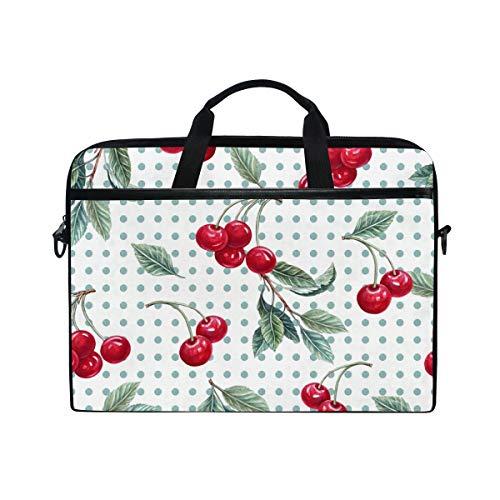 DOSHINE Laptop Bag Case Sleeve Polka Dot Cherry Fruit Notebook Computer Bag for 14-14.5 inch Adjustable Shoulder Strap, Back to School Gifts for Men Women Boy Girls