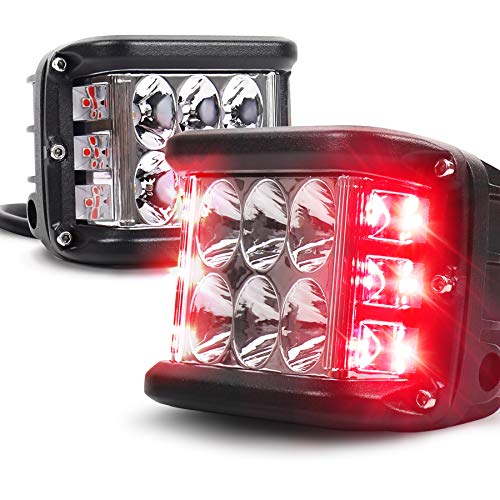 OVOTOR Side Shooter LED Pod Lights With Strobe Dual Side Red DRL, 4inch Off Road Flood Spot Driving Work Lights for Jeep Truck ATV SUV UTV 4x4