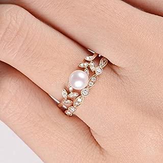 Phetmanee Shop Antique Women 18K Rose Gold Pearl Leaf Ring Set Wedding Engagement Gifts Jewelry (6)