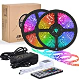 YORMICK LED Strip Lights, 32.8 Feet/10M 300LED Light Strip SMD 5050 Waterproof Flexible RGB Strip Lights with 44 Keys IR Remote for Home Kitchen Bar Counter Cabinet Party Christmas Decoration