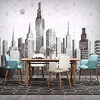 3D写真壁紙北欧モダン抽象手描き都市建築寝室ソファテレビ背景壁壁画-300x210cm