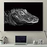 SADHAF Resumen animal cocodrilo boca lienzo arte impresión en blanco y negro en decoración del hogar póster sala de estar A6 70X100cm