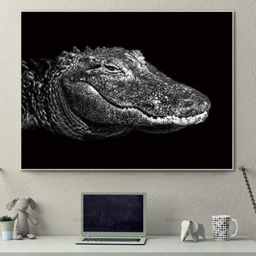 SADHAF Abstrakter Tierkrokodilmund Leinwandkunst Schwarzweiss-Druck auf Leinwanddruckplakat Wohnzimmer A2 40x50cm