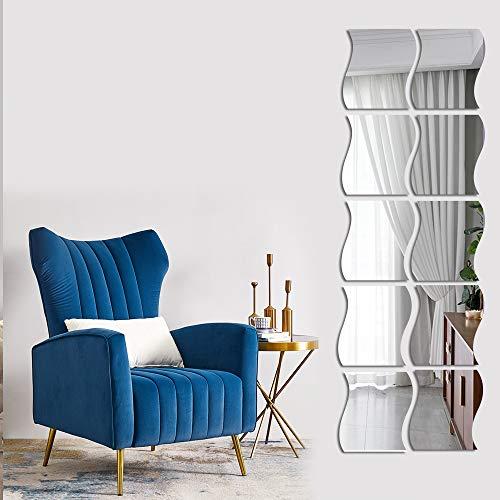 12 pegatinas de pared de espejo ondulado, de longitud completa, 3D, para decoración de pared, espejo de acrílico, para el hogar, sala de estar, dormitorio, sofá, TV, decoración de pared