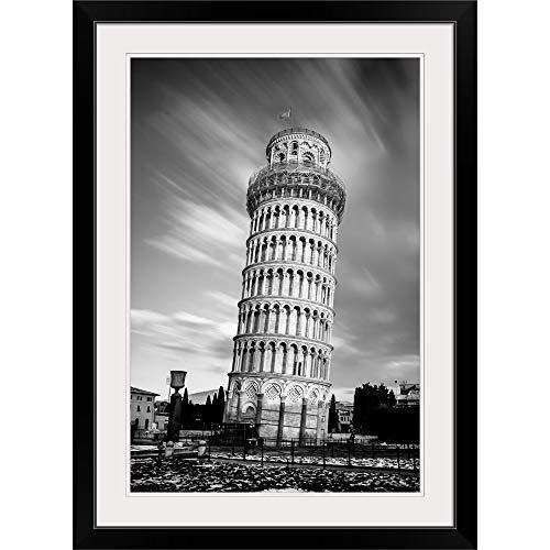 GREATBIGCANVAS Leaning Tower of Pisa Black Framed Wall Art Print12 x18 x1