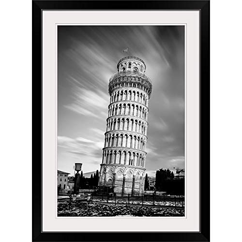 GREATBIGCANVAS Leaning Tower of Pisa Black Framed Wall Art Print12 x18 x1