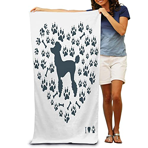 IUBBKI Nice Picture Poodle Silhouette Background Dog Tr Beach Bath Towel for Adult Super Soft Plush Machine Washable Pool Towel 31 x 51