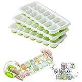 SANGSHI Cubitera de silicona para 14 cubitos de hielo, con 4 tapas extraíbles para cócteles, congeladores, alimentos para bebés (4 unidades)