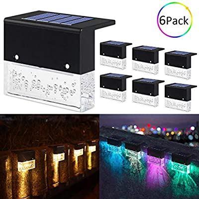 Solar Deck Lights,Led Solar Step Lights Outdoor Lighting Garden Decorative,2 Lighting Modes,Acrylic Bubbles Warm White/RGB Color Changing Lighting (Upgraded Version)