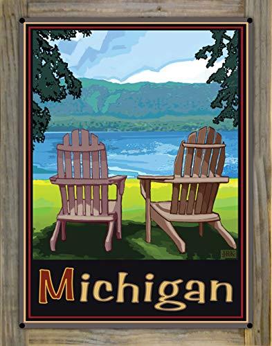 Northwest Art Mall Michigan Adirondack Chairs Lake Metal Print on Reclaimed Barn Wood from Alla Prima Painting by Artist Joanne Kollman 18' x 24'