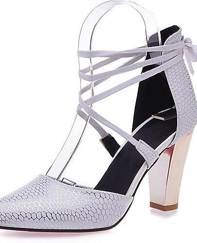 GGX  zapatos de mujer-Tacón Robusto-Tacones-Tacones-Boda   Oficina y Trabajo   Vestido-Semicuero-negro   rojo   blancoo   Beige