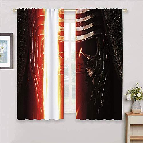 DILITECK Cortinas opacas para sala de estar, diseño de Kylo Ren Star Wars Kylo Ren Star Wars para sala de estar infantil, 163 x 163 cm, Star Wars Kylo Ren Star Wars