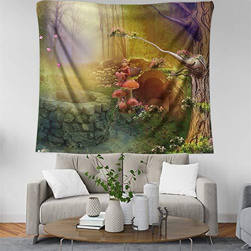 KHKJ Tapiz de árbol Colgante de Pared Bosque psicodélico Seta escénica Alce Hippie Mandala Alfombra de Pared decoración tapices A2 200x150cm
