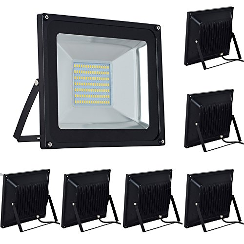 7-Pack 100W LED Floodlight,Low-Energy Warm White Spotlight,IP65 Waterproof Outdoor&Indoor Security Flood Light Landscape Lamp