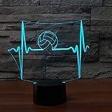 3D-Illusionslampe LED-Nachtlicht Kreativer Volleyballball Modell 7 Farben Ändern des Berührungsschalters USB-Tischlampe Kinderspielzeug für Kindergeburtstag oder Weihnachtsgeschenke