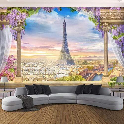 3D vliesbehang plantenvezel fotobehang 3D Stereo Romeinse Parijs toren wandschilderijen restaurant woonkamer slaapkamer achtergrond wanddecoratie 3D 400*280 400 x 280 cm.