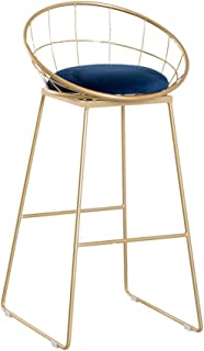 JHBW-bar stool Modern Minimalist Creative High Stool, Metal Iron Bracket, Velvet Seat Cushion, Seat Height 65cm (26in), Suitable for Bars, Cafes, Kitchens, Households (440LBS) (Gold)