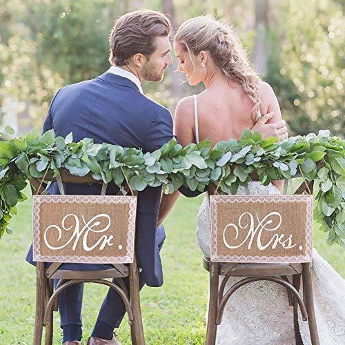 LinTimes Mr & Mrs Stuhl Banner Set Hochzeit Dekoration 1 Set von 2 Jute Bögen Mr. & Mrs Jute Stuhl Schild Girlande Rustikal Party Dekoration - Spitze