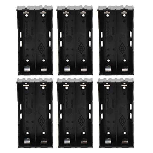 KEESIN 3.7V 18650 Batteriehalter Fall Kunststoff Batterie Abdeckung Aufbewahrungsbox mit Pin (2 Solts × 6 Stück)