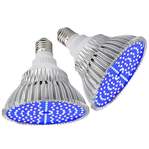 (Pack of 2) Byingo LED Grow Light Bulb - 25W 450-460nm All Deep Blue Spectrum - Aluminum Shell with Good Heat Dissipation - for Indoor Plants Flowering and Fruiting